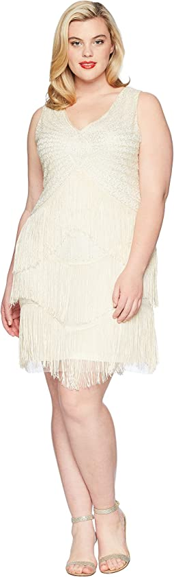 Plus Size Beaded Renee Fringe Cocktail Dress