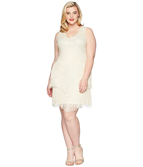 Unique Vintage Plus Size Beaded Renee Fringe Cocktail Dress At