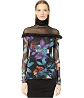 FUZZI - Long Sleeve Sheer T-Neck Top in Leaf Top