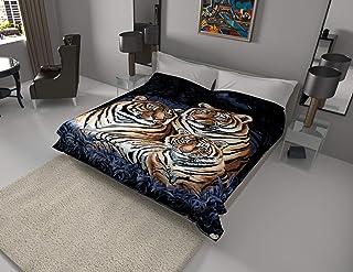 SOLARON Korean Super Thick Heavy Weight Mink Blanket (King, 3 Tigers Blue)