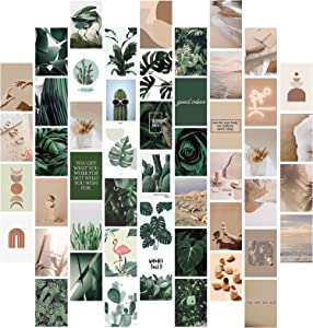 50Pcs Boho Wall Collage Kit Aesthetic Pictures, Room Decor for Bedroom Aesthetic Teens Girls, Boho Pictures Wall Decor, Cute Plants Photo Wall Collage Kit, Aesthetic Posters, Dorm Wall Art 4x6 Inch