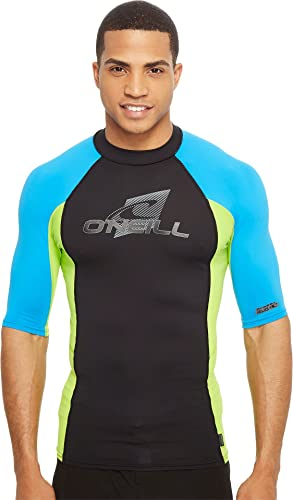 O'Neill Hommes's Skins S S Crew Dusty bleu blanc Graphite maillot de bain Top