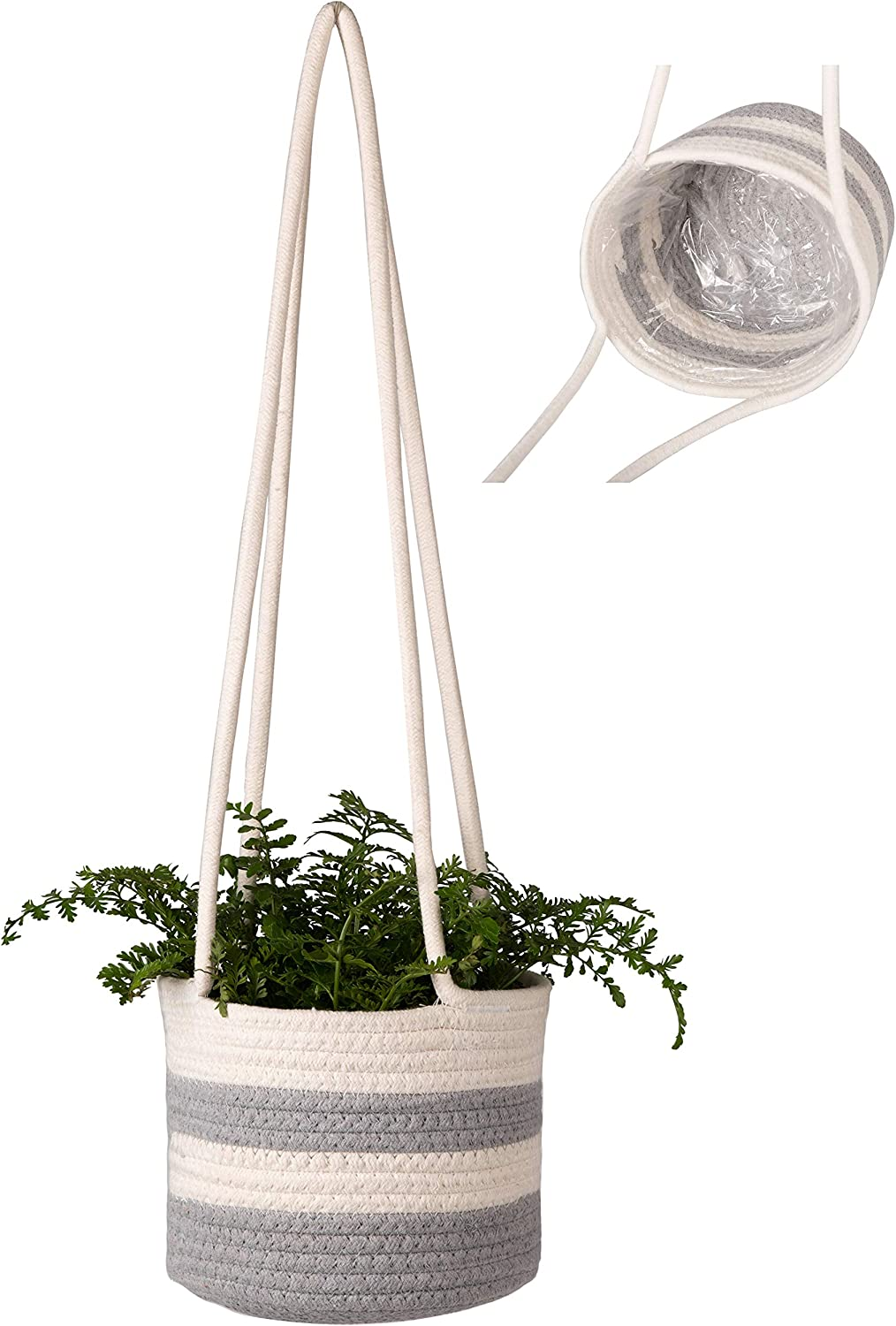 Abetree Hanging Planter Baskets Quantity limited Natural Cotton 5 ☆ very popular Woven Plant Hand