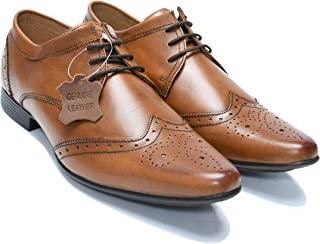 Amala Collections AU Men's Perforated Leather Shoes, Men's Brogue Style Formal Derby Lace Up Shoes with Wing Tip Toe
