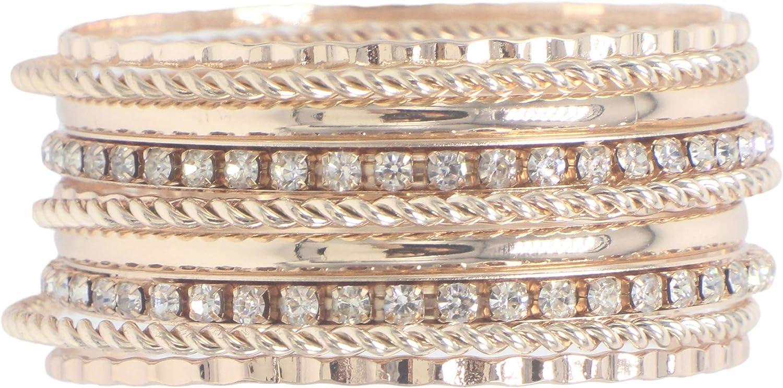 Rose Gold Hammered Twist Rhinestone Crystal Bangle Bracelet Set