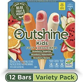 OUTSHINE Kids Strawberry Tangerine, Strawberry Watermelon & Strawberry Banana Frozen Fruit & Veggie Bars, 12 Ct. Box | Gluten Free | Non GMO