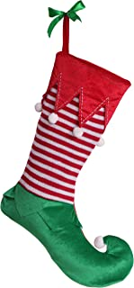 Valery Madelyn 21 inch Delightful Elf Christmas Stockings with Stripe Decorative Corduroy, Themed with Tree Skirt (Not Included)