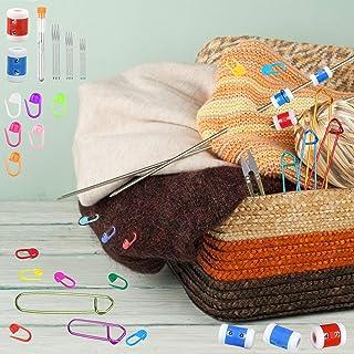 LAMEK 48pcs Accessoire Kit Tricot, Accessoire Tricot et Crochet, Compteur de Rangs Plastique pour Tricotage Débutant Famil...
