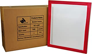 18 x 20 Inch Pre-Stretched Aluminum Silk Screen Printing Frames with 160 White Mesh (6 Pack Screens)