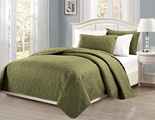 Mk Collection Diamond Bedspread Bed-Cover Embossed Solid Over Size New (King/California King, Olive Green)