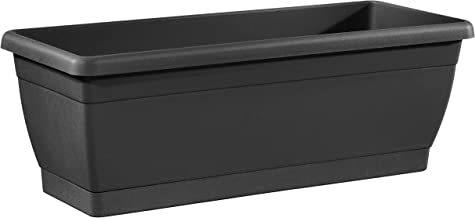 TABOR TOOLS Plastic 16 Inch Window Box Planter with Attached Saucer, for Indoor and Outdoor Use, Rectangular. VER501A. (Black)
