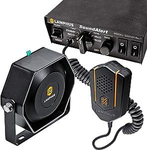 SoundAlert 100W Emergency Police Siren Kit [118-124dB Slim Speaker] [2 x 16A Switch Control] [Hands-Free Air Horn] [PTT Mic] [Radio Rebroadcast] Warning PA System for Emergency Vehicle Trucks Cars