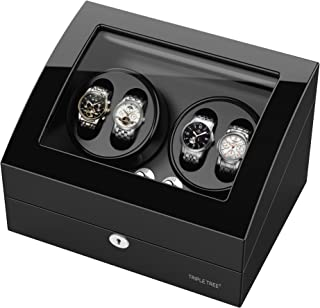 Watch Winder for 10 Watch, Wooden Shell, Piano Paint, Powered by Japanese Motor, Fit for All Size of Automatic Watches, Flexible Watch Pillow and USB Cable (Black)
