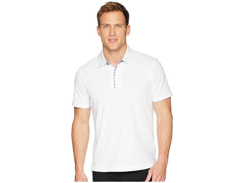 Robert Graham Diego Short Sleeve Knit Polo (White) Men