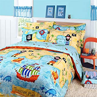 WINLIFE Kids Bed Set, Pirate Pattern Duvet Cover Set, 100% Cotton, Blue Yellow, Twin