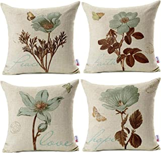 Best Monkeysell Pack of 4 Lotus Leaf Butterfly Flowers Pattern Cotton Linen Throw Pillow Case Boho Floral Printed Pillow Cushion Cover Home Sofa Decorative 18 X 18 Inch (Cushion Cover) Review