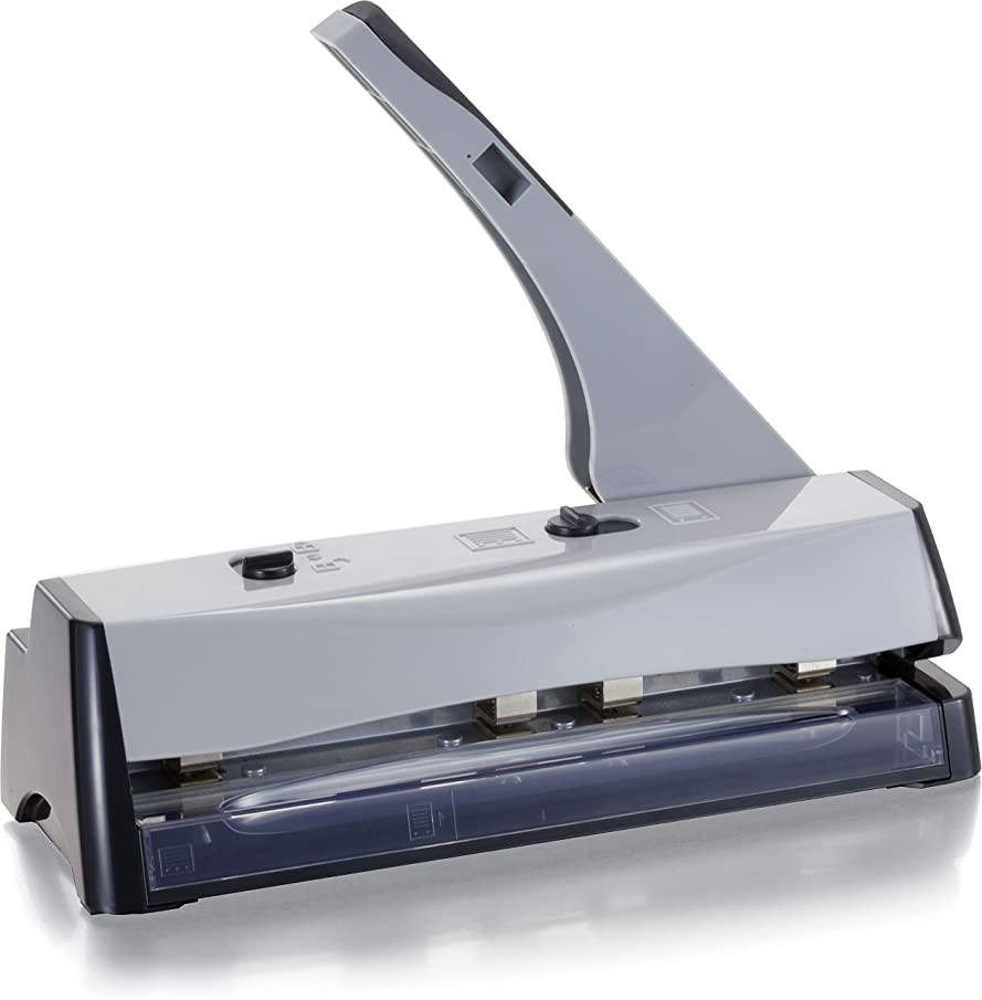 Officemate Effortless 2-3 Hole Punch with Chip Drawer, Punches up to 20 Sheets of 20 lb. Paper, Gray (90150)