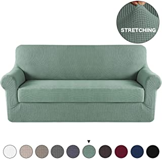 Turquoize 2 Piece Sofa Slipcover Spandex Stretch Furniture Slipcover with Jacquard Small Check Pattern Sofa Cover High Stretch Living Room Couch Slipcover for 3 Cushion Couch Cover (Sofa, Dark Cyan)