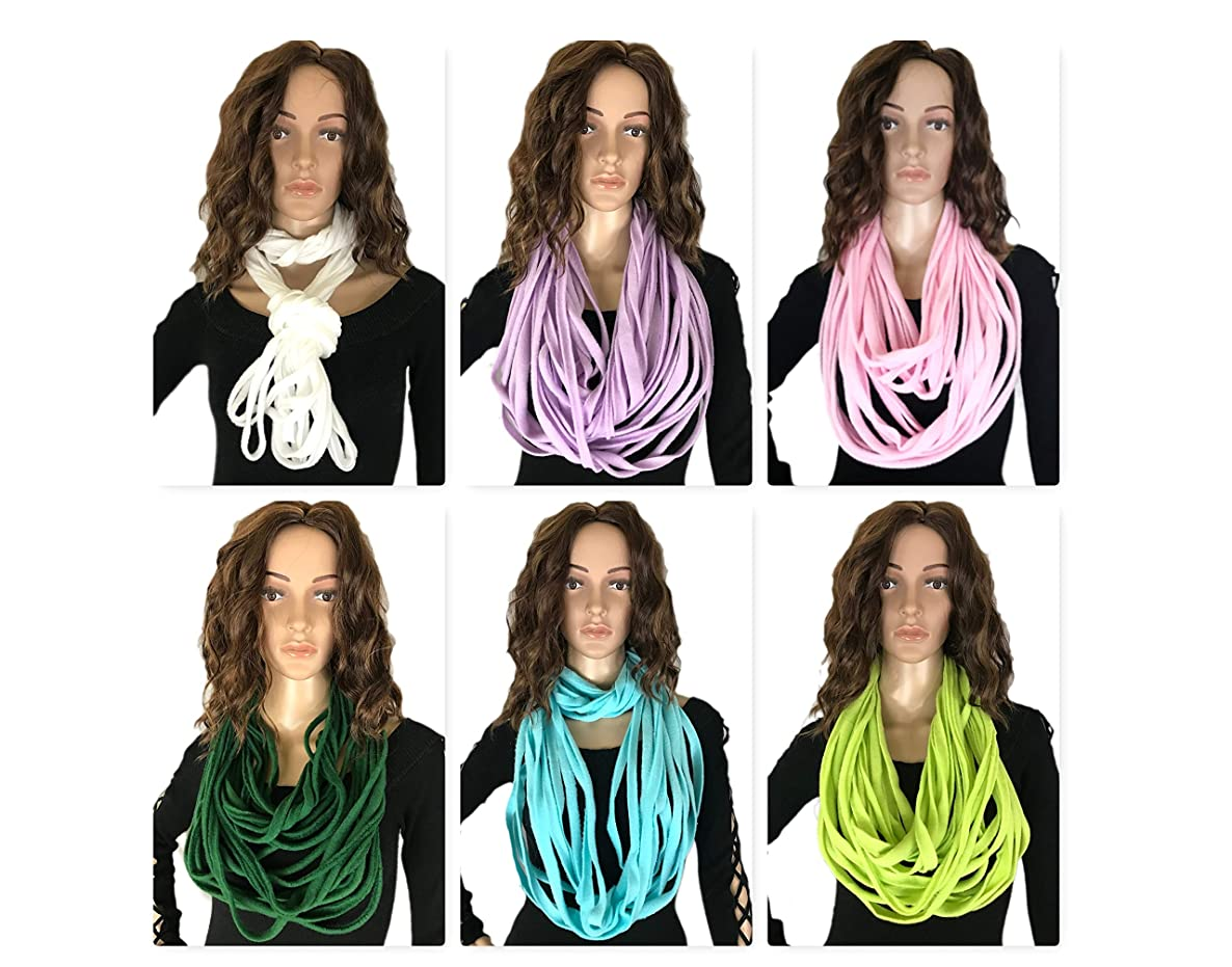 Liannas Unique Textile Scarf, Trendy Elegant Novelty Accessory, Multi Strand Layered Fabric Necklace T-shirt Jewelry, Choose your color!