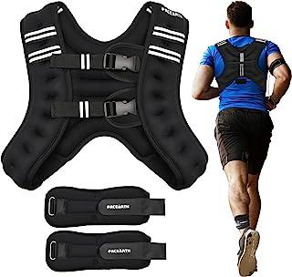 جلیقه وزنی PACEARTH با وزن مچ پا/مچ 6/12/16 پوند جلیقه وزن بدن قابل تنظیم با تجهیزات تمرین راه راه بازتابی برای تمرینات قدرتی ، کاردیو ، پیاده روی ، دویدن ، دویدن برای مردان خانم