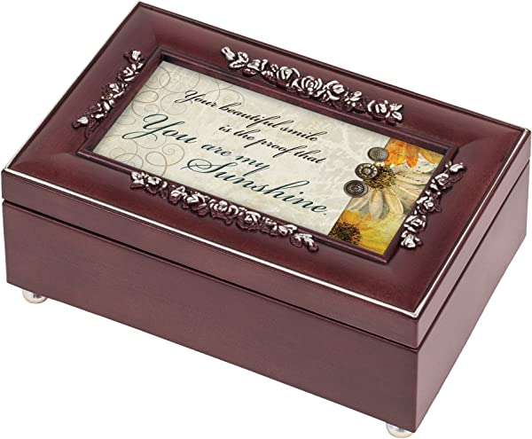 You Are My Sunshine Rosewood Finish With Silver Trim Jewelry Music Box