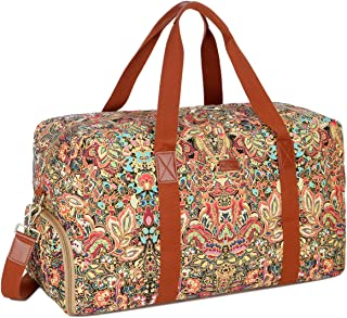 BAOSHA HB-32 Canvas Travel Duffel Bag Weekender Overnight Bag Carry on Oversized for Women and Ladies (Colour with Shoe Compartment)