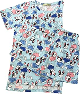 Fashion Culture Junior's Boston Terrier Dog Pajama Lounge Shorts & Scrub Top Set, Blue Multi (XS)