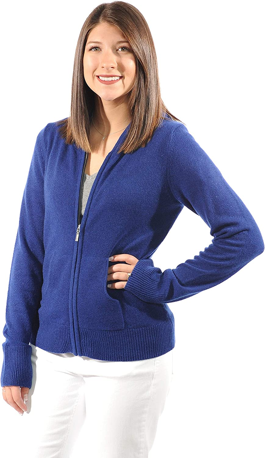 Gigi Reaume Women's Hoodie Sweater, 100% Cashmere, Zip Up with Front Pockets, Long Sleeve Cardigan