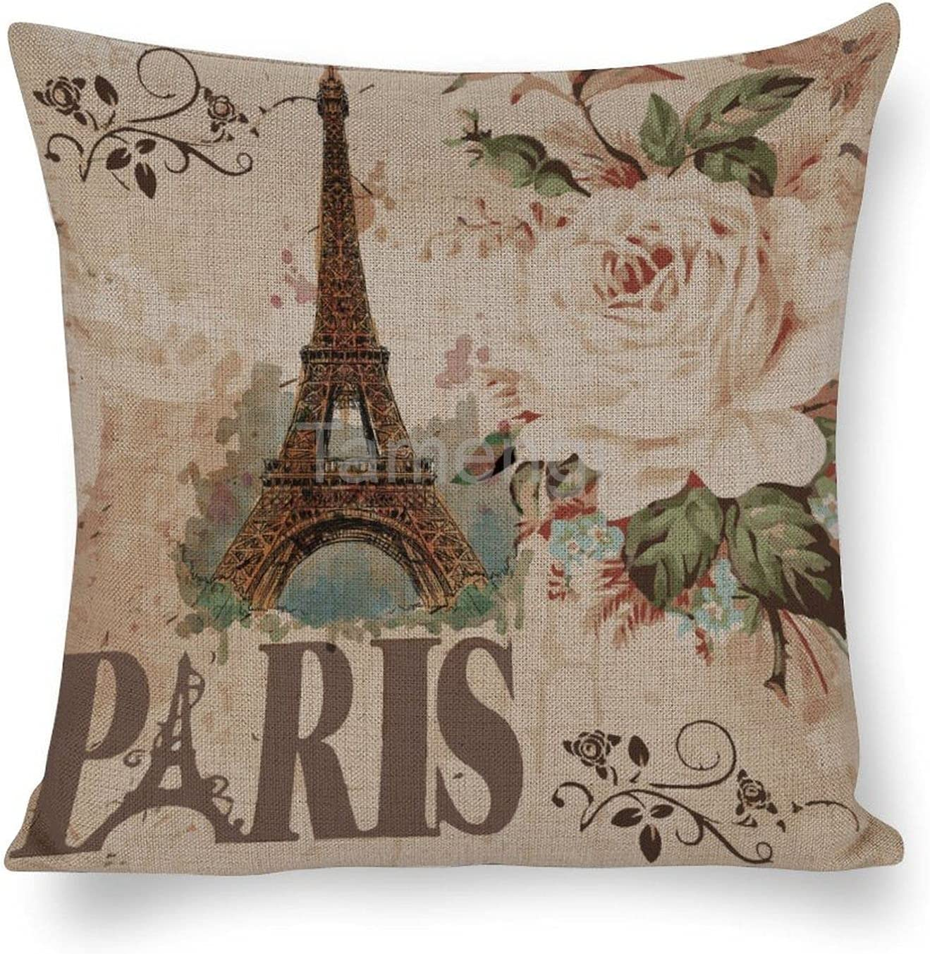 Throw Pillow Cover Max 67% OFF of fixed price 63% OFF Decorative Pillowcase Eiffel Paris Vintage Fl