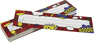 Desk Name Tags - Pack of 72 Name Plates, Comic Book Blast Designs, Assorted Name Tags, Students and Teachers Name Plate, 11.5 x 3.0 inches
