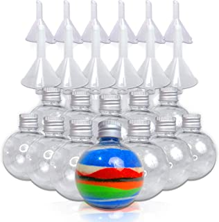 JJ CARE 12 Round-Shaped Bottles with Funnels for Art Sand/Scenic Sand Non-Toxic Colored Sand for Kids' Arts & Crafts, Decorations and Crafty Collection Bottles