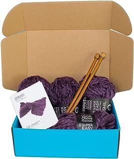 DIY Knitting Kit Throw Blanket Super Soft Purple Thick and Thin Bulky Yarn US 15 Needles
