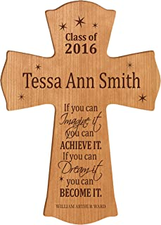 LifeSong Milestones Personalized Wall Cross Graduation Gifts for If You can Imagine it You can Achieve IT if You can Dream it You can Become IT (8.5