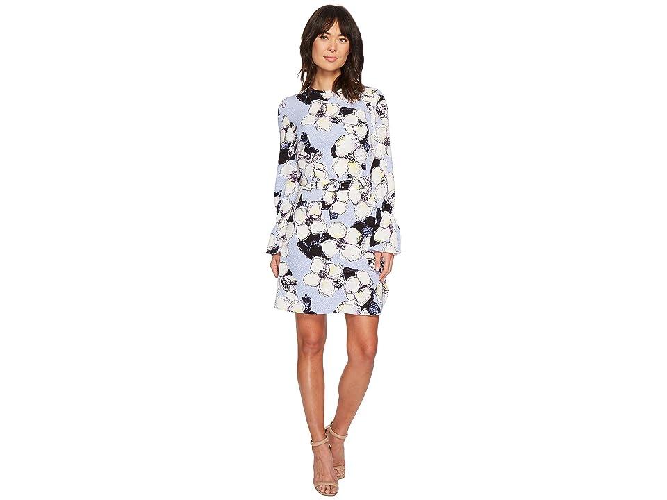 Ellen Tracy Cloque Belted Shift Dress (Begonia Artic Blue) Women