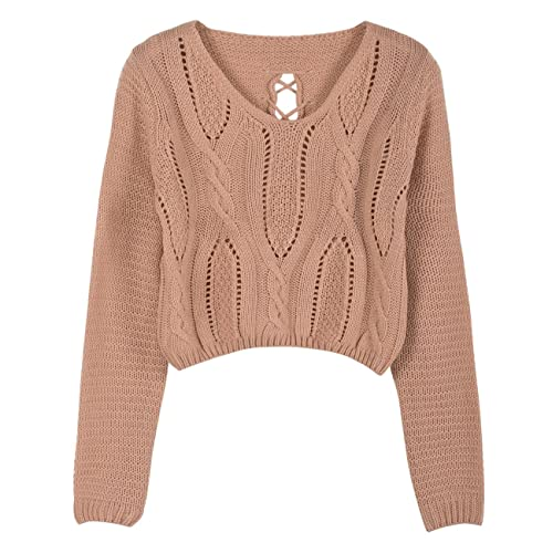 8a91cd526c PrettyGuide Women s Sweater Long Sleeve Eyelet Cable Lace Up Crop Top