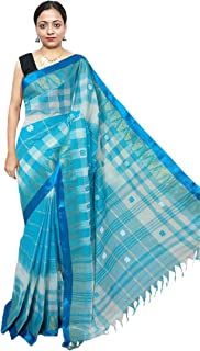 Red Saree Women's Ikat Cotton Saree With Blouse Piece (Sanghamitra304_Turquoise & White)