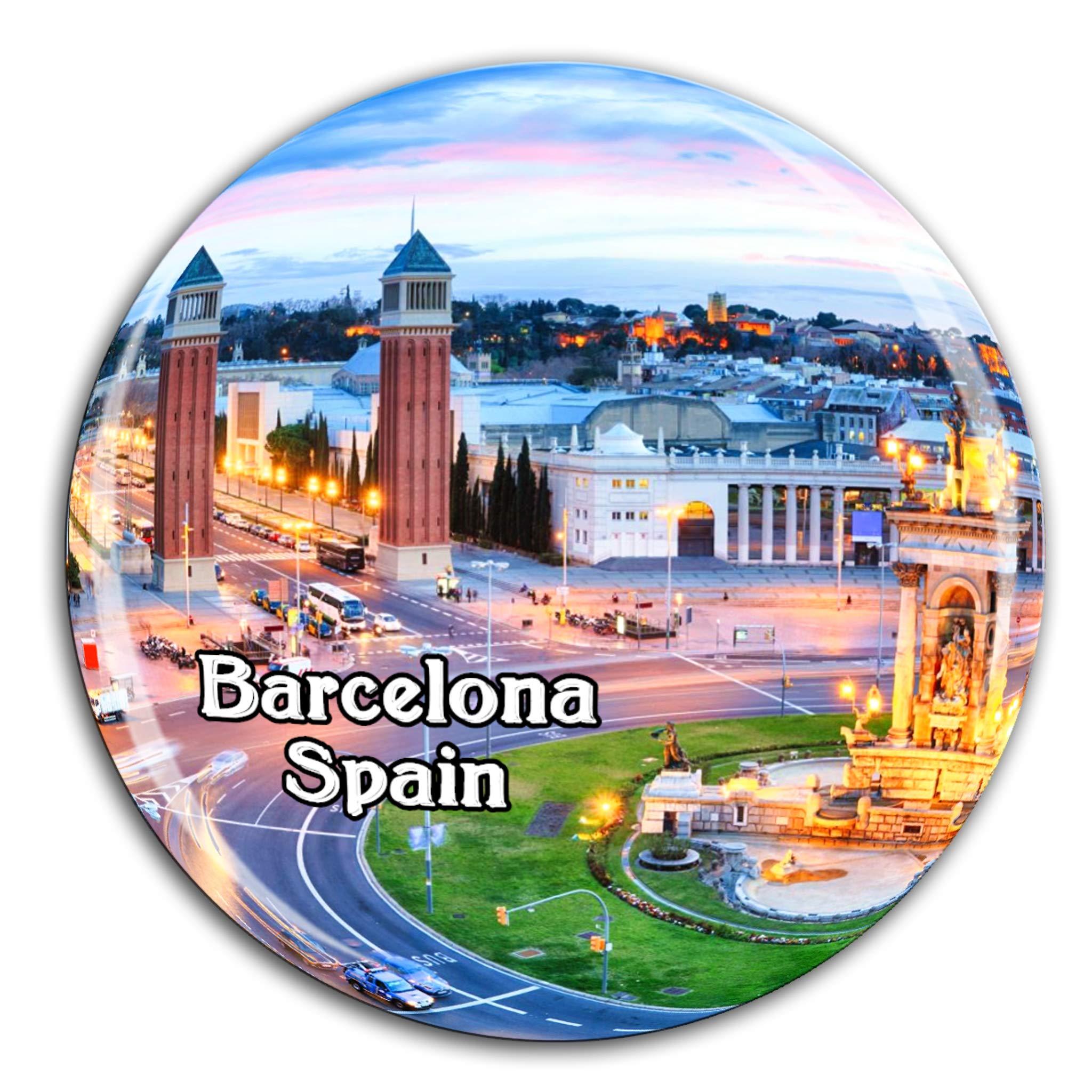 Plaza de España Barcelona España Imán de Nevera Cristal 3D Cristal Ciudad Turística Recuerdo de Viaje Colección Regalo Fuerte Refrigerador Pegatina: Amazon.es: Hogar