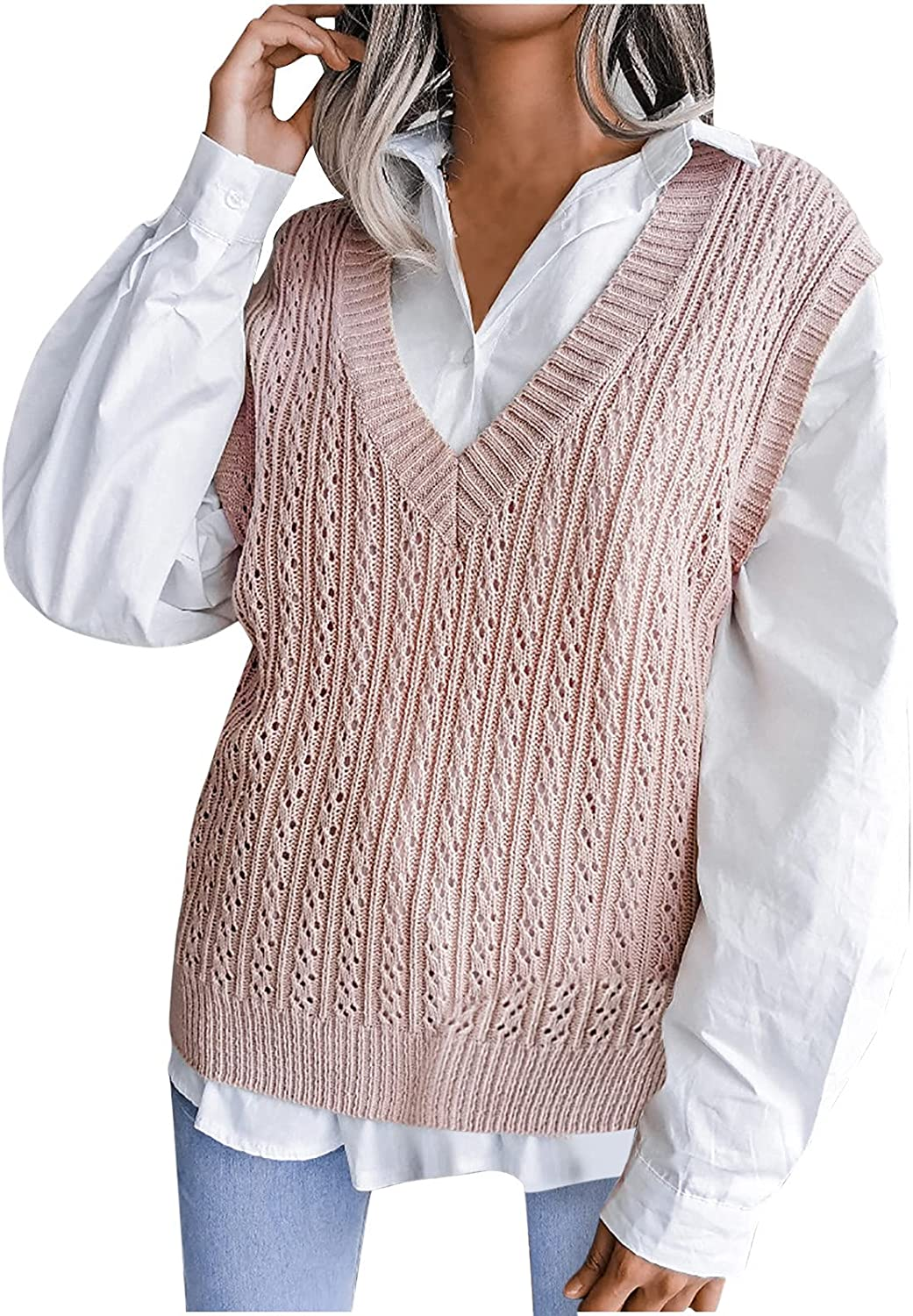 Women Casual V-Neck Hollow Diamond Knitted Vest Sweater Vest Pink