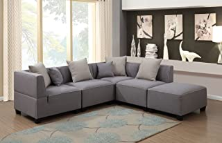 AC Pacific 5 Piece Holly Collection Modern Linen Fabric Upholstered L-Shaped Living Room Tuxedo Sectional Sofa and Ottoman, Grey