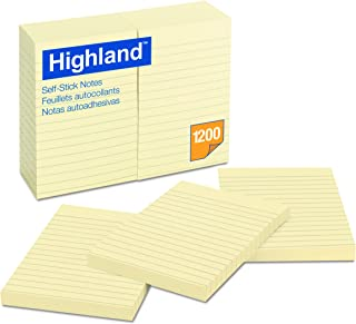 Highland Notes, Pad, 4 Inches x 6 Inches, Lined, Yellow, 12 Pads per Pack