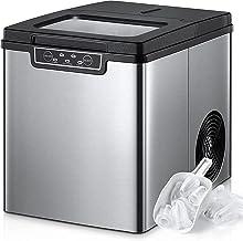 Machine à glaçons acier inoxydable, 13 kg en 24h, glaçons rapide prêt en 6 min, 2 tailles de glaçons, autonettoyant, autom...