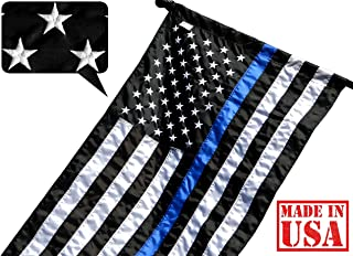 US Flag Factory 2.5x4 FT Thin Blue Line American Flag (Pole Sleeve, Embroidered Stars, Sewn Stripes) for Police Officers, Blue Lives Matter Flag, Outdoor Nylon - Made in America (2.5x4 FT Pole Sleeve)