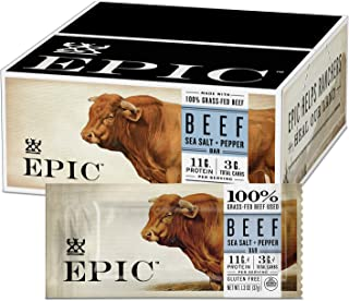 Epic Provisions Beef Sea Salt + Pepper Protein Bar Keto Consumer Friendly, 12 Count 1.3oz bars