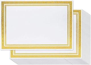 Belle Vous Papier Certificat (50 Pièce) - A4 180GSM Diplômes Vierges avec Bordure de Feuille d'or - Convient à Laser Impri...