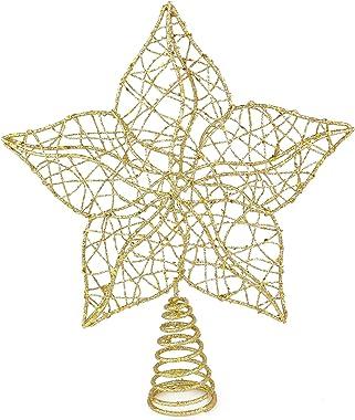 Ornativity Glittered Star Tree Topper - Christmas Gold Sparkle Wire Star Leafy Decoration