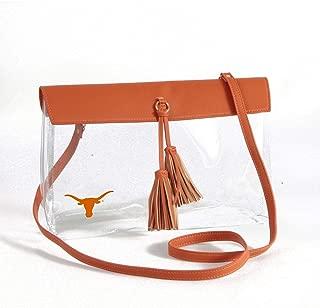 Texas Longhorns Clear Handbag with Logo, Vegan Leather Trim and Tassels