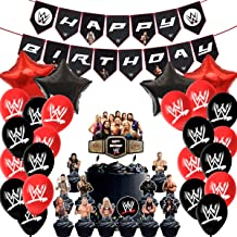 Party Favors for Wwe Party Supplies Birthday Decorations Balloons Banners Cake Toppers Cupcake Toppers for Children