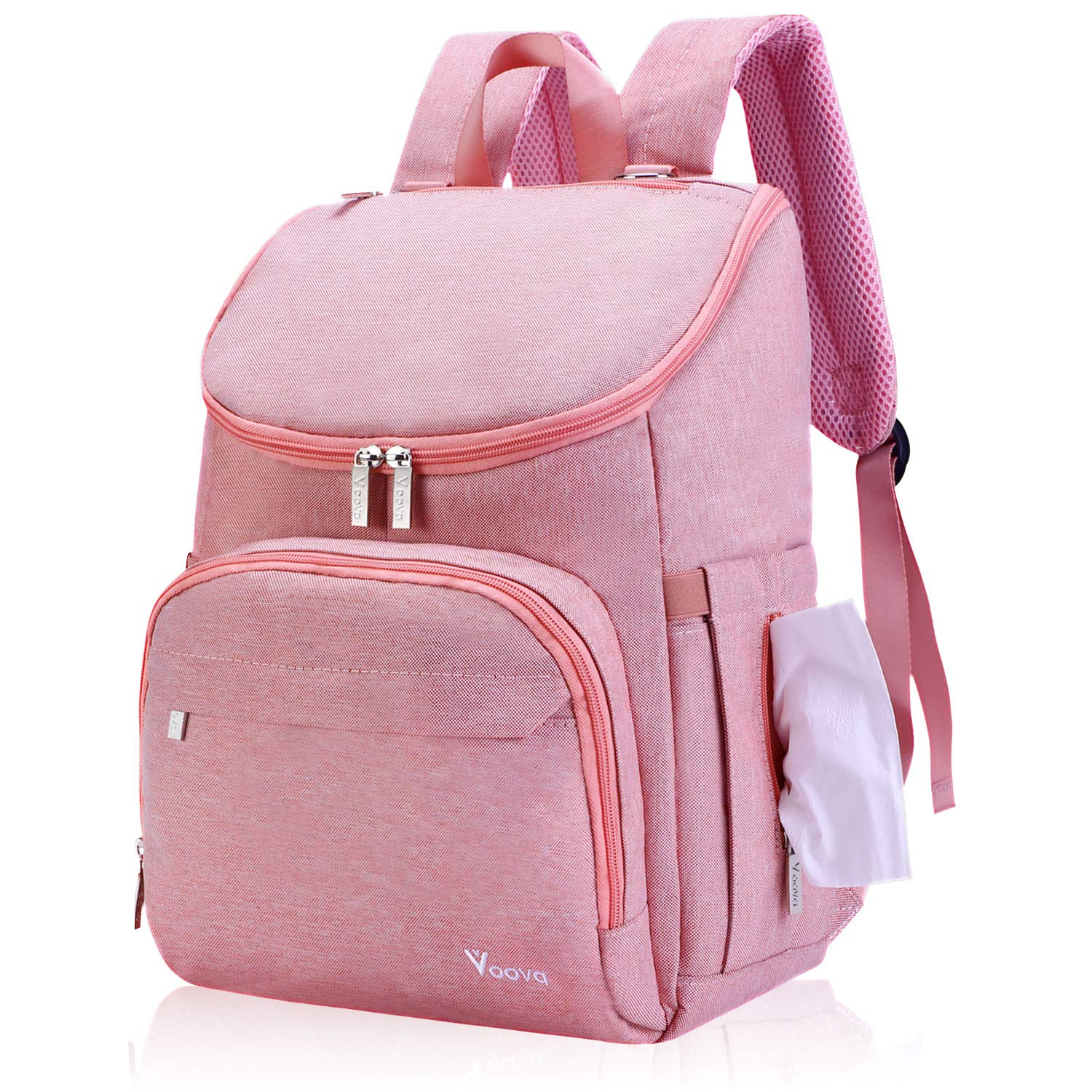 Diaper Bag Backpack, Voova Large Travel Baby Bag Back Pack for Baby Boy Gril, Mom and Women, Stylish Waterproof Maternity Nappy Bags with Changing Pad, Thermal Pockets,Stroller Straps, Pink