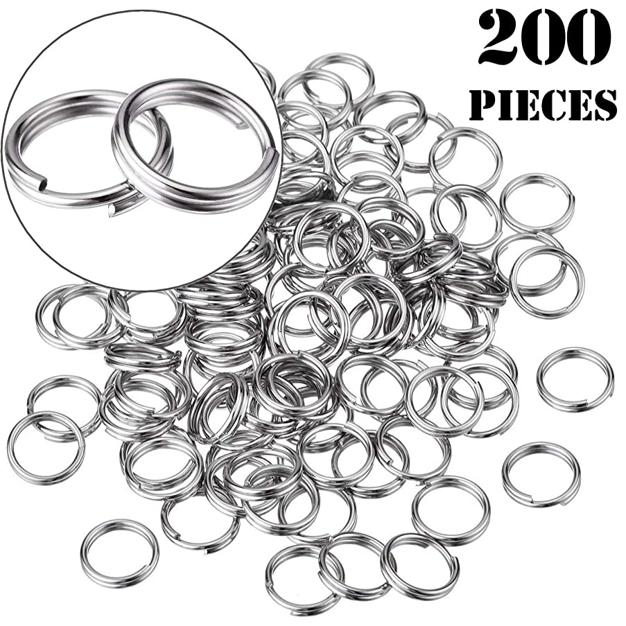 Onwon 200 Pieces Small Split Rings Nickel Plated Key Chains Key Link Connector for Connecting Lobster Clasp, Charms, Links and Other Jewelry (10mm/ 0.39inch)