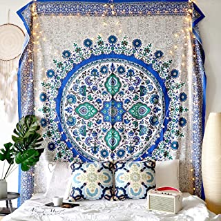 Overeak Mandala Psychedelic Tapestry Wall Hanging Bohemian Blue Sunflower Tapestries for Dorm Boho Big Teal Tapestry King Size 215x235Cm